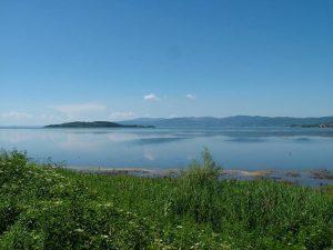 Il Lago Trasimeno e Isola Polvese dal molo di Sant'Arcangelo Paesaggi del Trasimeno